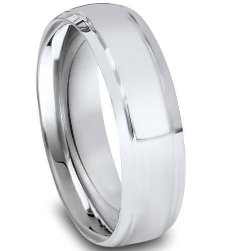 6mm High Polished Dome Wedding Band 14K White Gold