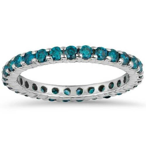 1 1/2ct Blue Diamond Eternity Ring 14K White Gold (Blue, SI2-I1)
