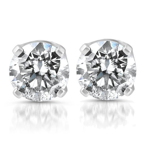 1.80 cttw Round Cut Diamond Studs 14K White Gold (G, I2)