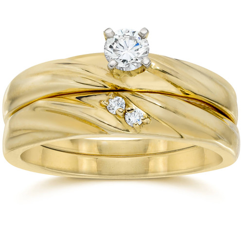 1/4CT Diamond Engagement Wedding Ring Set 10K Yellow Gold (H/I, I2-I3)