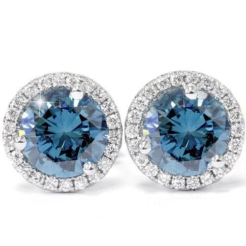 2 1/10ct Blue & White Diamond Halo Studs 10K White Gold (G/H, I1)