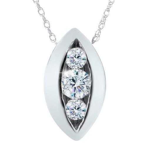 1/2ct Three Stone Past Present Future Diamond Pendant 14K (G/H, SI)