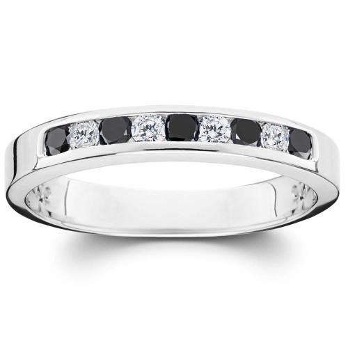1/3ct Black & White Diamond Channel Set White Gold Ring (G/H, I2)