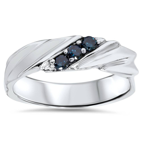 1/10ct Treated Blue Diamond Mens Three Stone Wedding Ring 14K White Gold (Blue, I1)