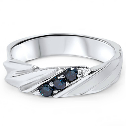 1/10ct Blue Diamond Mens Three Stone Ring 14K White Gold (Blue, I1)