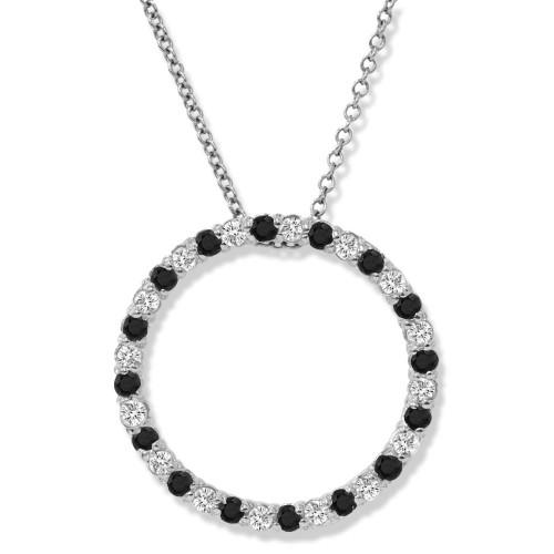 .55CT Black & White Diamond 10K White Gold Circle Pendant (Black, AAA)