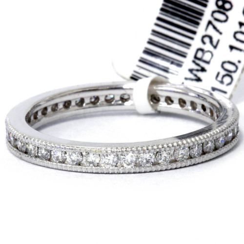 .51 ct Diamond Stackable Wedding Eternity Ring Channel Set Milgrain 14K SZ 6 (G, VS)