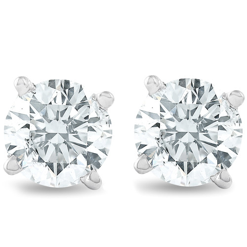1 1/4ct 14K White Round Cut Studs Earrings Screw Back (H-I, I1-I2)