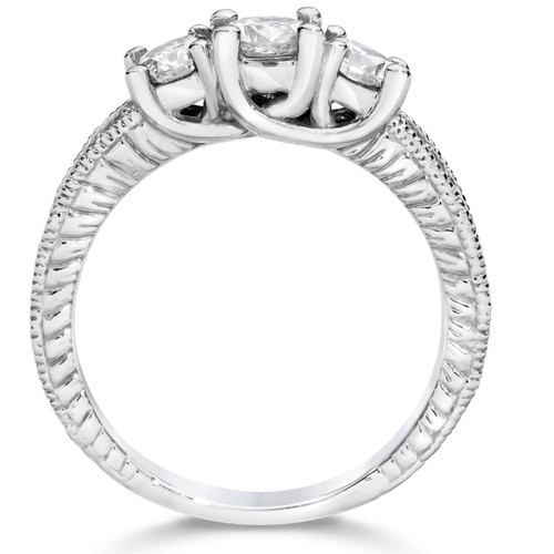 1 1/4ct Vintage 3 Stone Round Diamond Engagement Ring 14K White Gold (H, I1)