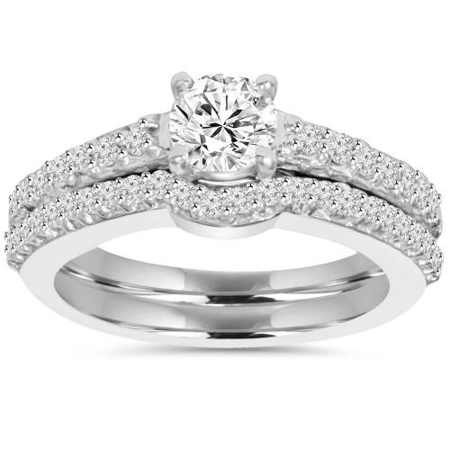 1ct Round Cut Diamond Engagement Matching Wedding Ring Set 14K White Gold (G/H, I1)