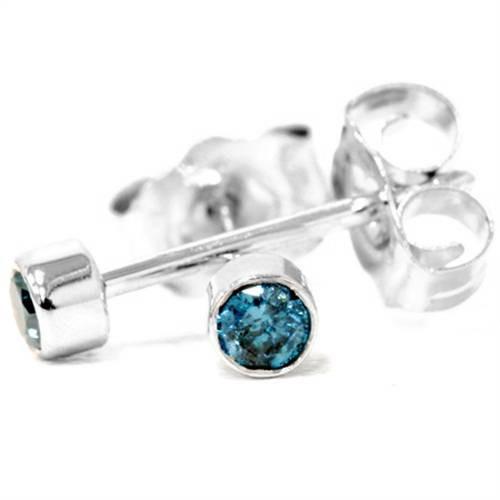 1/8ct. Blue Round Brilliant Cut Diamond Stud Earrings 14K White Gold (Blue, I2-I3)