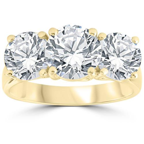 5 ct Diamond 3 Stone Round Solitaire Engagement Ring 14K Yellow Gold (H-I, I1-I2)