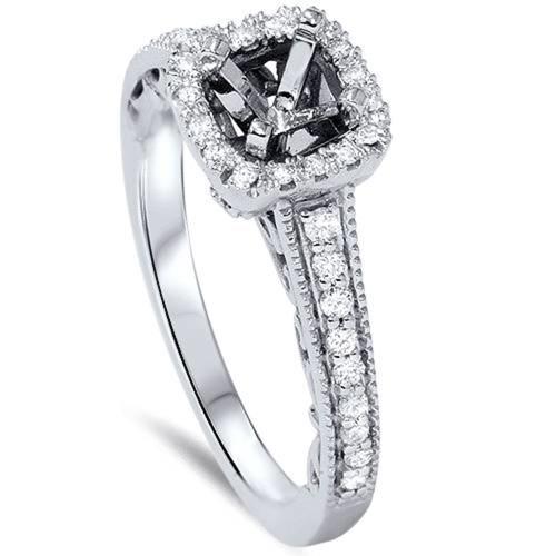 1/10ct Vintage Halo Diamond Engagement Setting 950 Platinum (G/H, SI1-SI2)