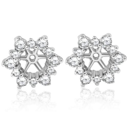 7/8ct Diamond Earring Studs Jackets 14K White Gold (5.5-6mm) (G-H, I1)