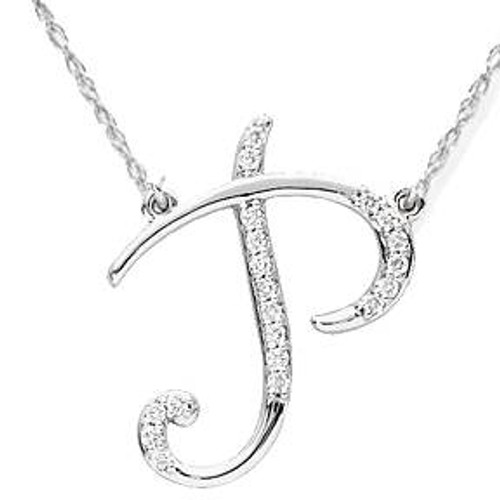 "1/4ct Diamond ""P"" Initial Pendant 18"" Necklace 14K White Gold (G/H, I2)"