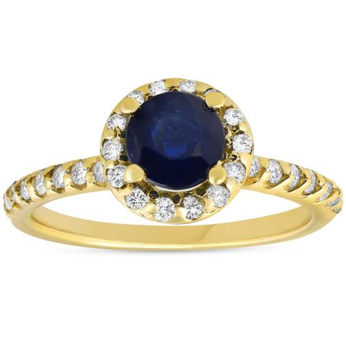 1ct Blue Sapphire & Diamond Halo Engagement Ring 14K Yellow Gold (H/I, I2-I3)