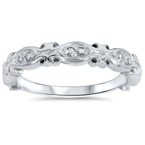 1/10ct Vintage Diamond Wedding Ring 14K White Gold (G/H, I2)