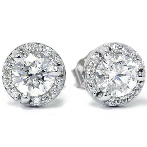 7/8ct Pave Halo Martini Diamond Studs 10K White Gold (G/H, VS)