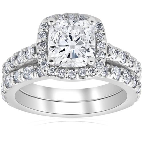 3 Ct Cushion Halo Diamond Engagement Wedding Ring Set 14k White Gold ((F), SI(1)-SI(2))