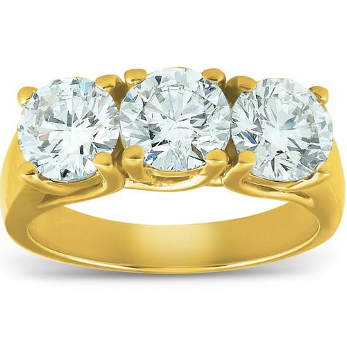 2 1/2ct Three Stone Diamond Engagement Ring 14K Yellow Gold (G/H, SI)