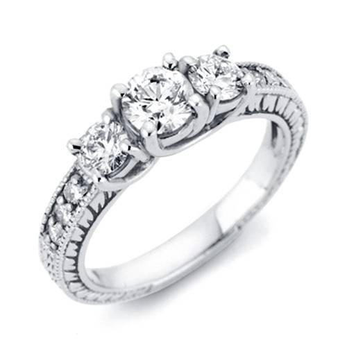 1ct Vintage Three Stone Round Diamond Engagement Ring 14K White Gold (H, I1)