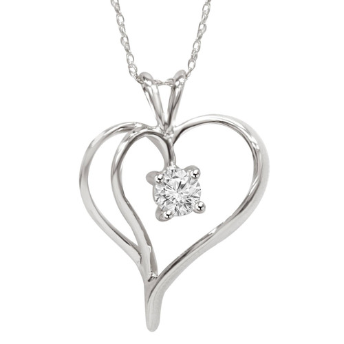 "1/3Ct Solitaire Round Diamond Heart Pendant & Chain 14K White Gold 1"" Tall (G/H, I2)"