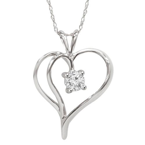 "1/3Ct Solitaire Round Diamond Heart Pendant & Chain 14K White Gold 1"" Tall (G/H, I2)"