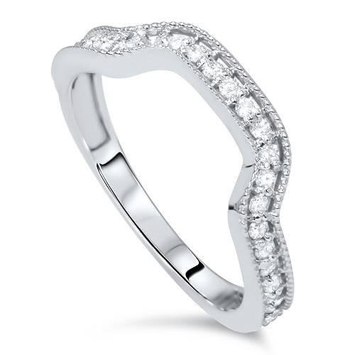 1/3ct Diamond Curved Ring 14K White Gold (H/I, I1-I2)