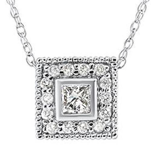 1/3ct Diamond Princess Cut Halo Vintage Pendant 14K White Gold (G-H, I1-I2)