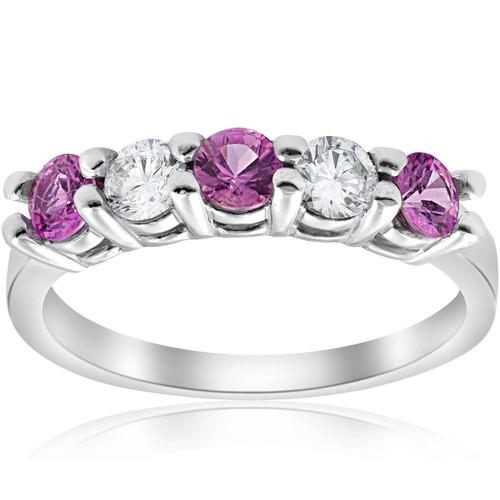 1 ct Pink Sapphire & Diamond Ring 14K White Gold (G/H, SI)