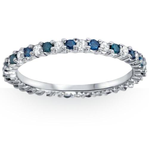 1/2ct Blue & White Diamond Eternity Ring 14K White Gold (Blue, I2-I3)