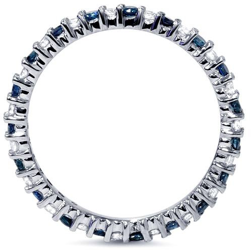 1/2ct Blue & White Diamond Eternity Ring 14K White Gold (Blue, I2-I3)