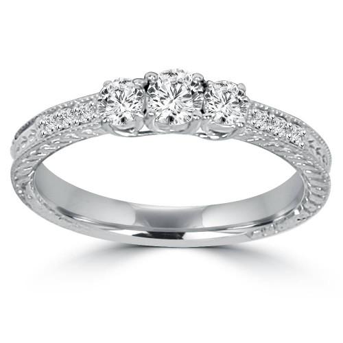 Antique 3/4ctw Round Diamond 14K White Gold 3 Three Stone Anniversary Ring Band (G/H, I1)