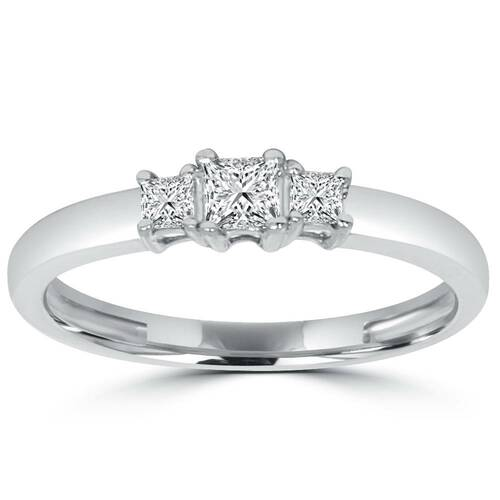 1/2ct Three Stone Princess Cut Diamond Ring 14K White Gold (H, I1)