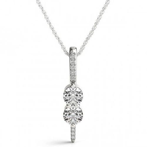 "Forever Us Two Stone Genuine Diamond Pendant 1/2 Carat 10K White Gold & 18"" Chain (H-I, I1)"