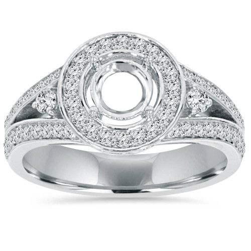 1/2CT Halo Split Shank Diamond Engagement Ring Setting 14K White Gold (G/H, I1-I2)