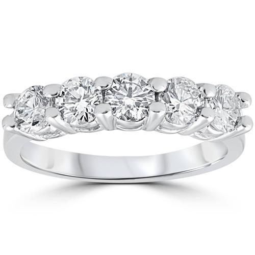 1 1/4ct Five Stone Diamond Wedding Ring 14K White Gold (G, VS)