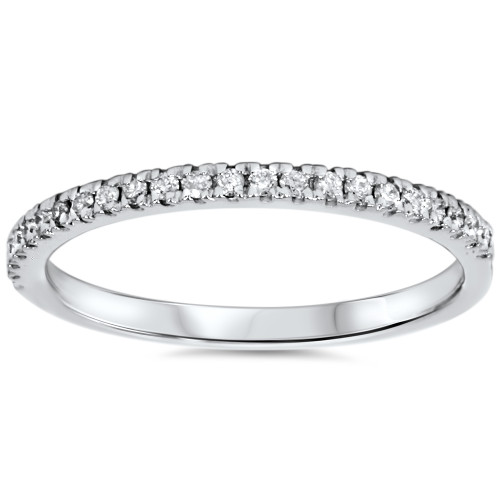 1/5ct Pave Diamond Wedding Ring 10K White Gold (G/H, I2-I3)