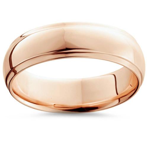 6mm High Polished 14K Rose Gold Step Cut Mens Dome Wedding Band