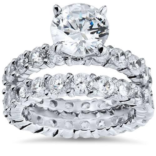 5 1/2ct Diamond Eternity Engagement Wedding Ring Set 14K White Gold (G/H, I1)