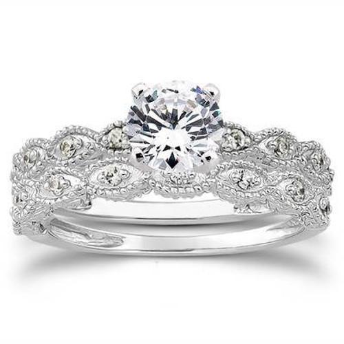 5/8ct Vintage Diamond Engagement Ring Set 14K White Gold (G/H, I1-I2)