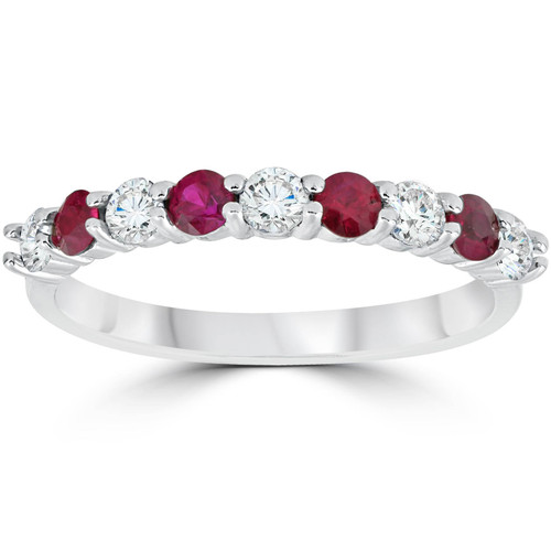 1/2CT Ruby & Diamond Wedding Ring 10K White Gold (H/I, I1-I2)