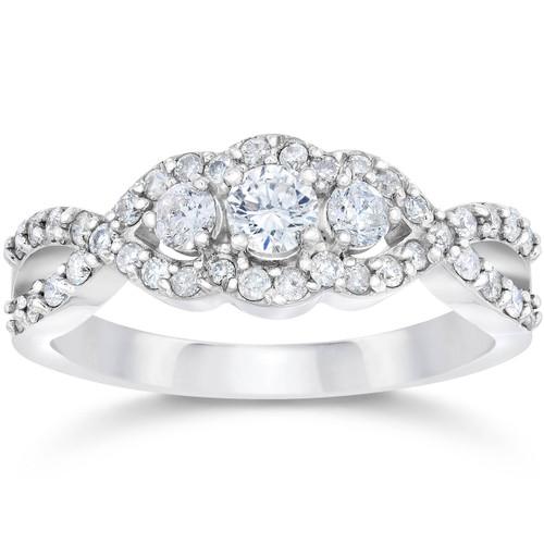 3/4ct 3-Stone Diamond Infinity Engagement Ring 10K White Gold (G/H, I1-I2)