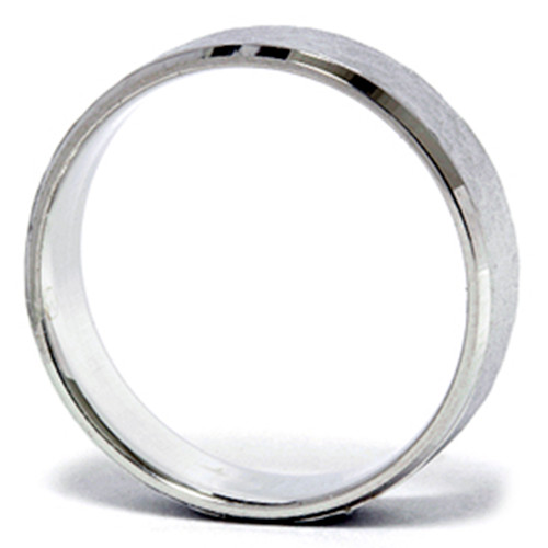 Mens 14K White Gold Hammered Beveled Wedding Band New
