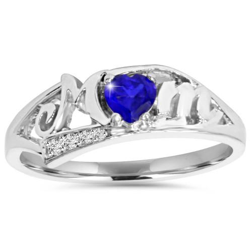 5/8ct Blue Heart Sapphire & Diamond MOM Ring 10K White Gold (H/I, I2-I3)