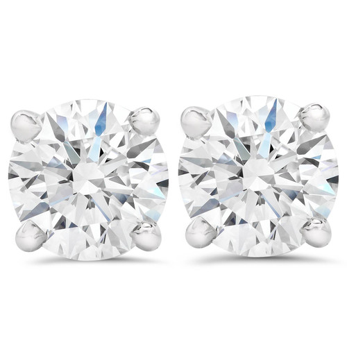 3ct Round Diamond Studs W/ Screw Back 14K White Gold (F, SI(1)-SI(2))