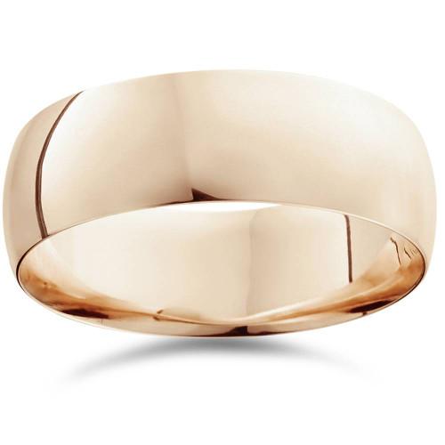 8mm Dome High Polished Comfort Fit Wedding Plain Band 14K Rose Gold