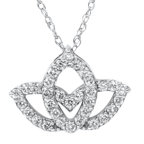 38ct Diamond Lotus Flower Pendant 14k White Gold
