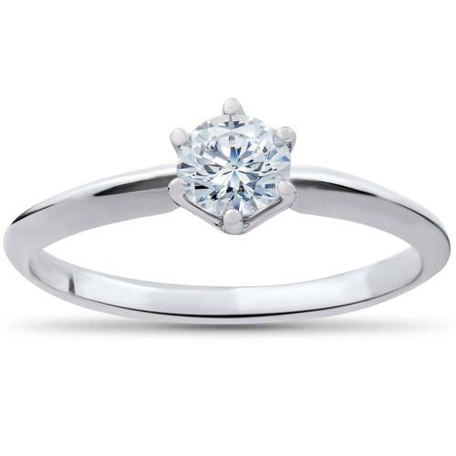 1/3ct Round Diamond Solitaire Engagement Ring 14K White Gold Size 6 (H-I, I1-I2)