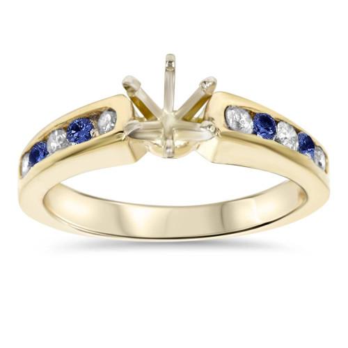 1/2CT Blue Sapphire & Diamond Engagement Ring Setting 14K Yellow Gold (H/I, I1-I2)